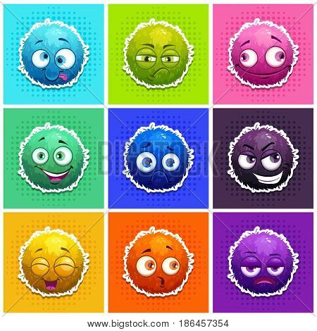 Funny round fluffy characters set. Colorful shaggy aliens. Vector stickers.