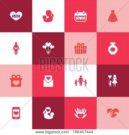 Mothers Day Icon Design Concept. Set Of 16 Such Elements As Palms, Fragrance And Letter. Beautiful Symbols For Gown, Letter And Heart.