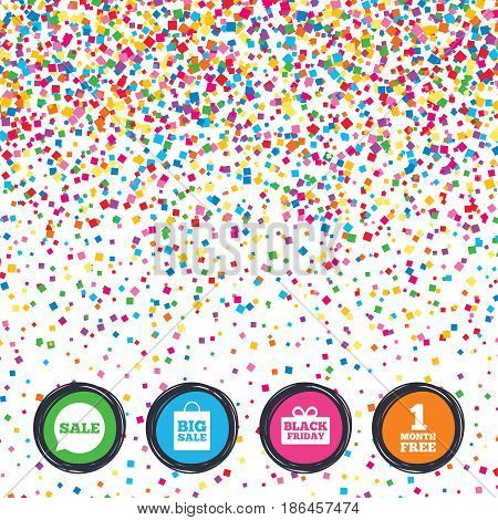 Web buttons on background of confetti. Sale speech bubble icon. Black friday gift box symbol. Big sale shopping bag. First month free sign. Bright stylish design. Vector