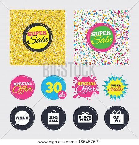 Gold glitter and confetti backgrounds. Covers, posters and flyers design. Sale speech bubble icon. Black friday gift box symbol. Big sale shopping bag. Discount percent sign. Sale banners. Vector