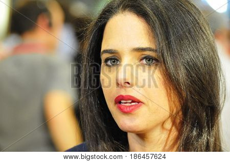 JERUSALEM, ISRAEL - June 10, 2014. Israeli politician Ayelet Shaked (The Jewish Home) commenting to the media during the presidential elections in the Israeli Parliament Knesset.