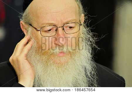 JERUSALEM, ISRAEL - June 10, 2014. (Deputy) Minister of health in the Israeli government Yakov Litzman giving comments to press during the presidential elections in the Israeli Parliament Knesset.