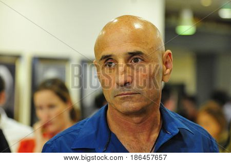JERUSALEM, ISRAEL - June 10, 2014. Israeli politician Ofer Shelah (Yesh Atid party), giving comments to the media during the presidential elections in the Israeli Parliament Knesset.