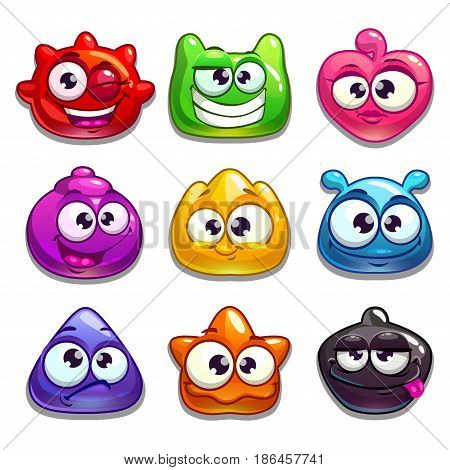 Funny cartoon jelly characters, isolated on white, vector illustration