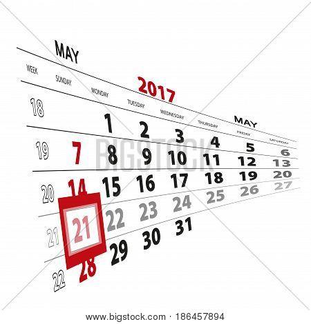 May 21, Highlighted On 2017 Calendar.