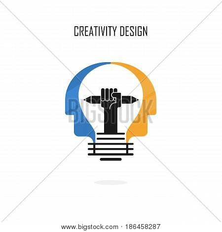 Creative light bulbpencils and Human heads vector design banner template.Corporate business and industrial creative logotype symbol.Brainstorming and teamwork concept.Vector flat design illustration