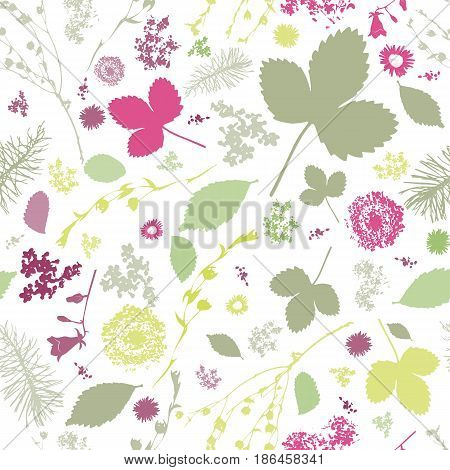 Abstract Seamless pattern with floral elements. Spring pattern. Leaves and twigs.
