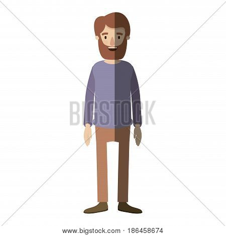 light color shading caricature full body man with beard and moustache with clothing vector illustration