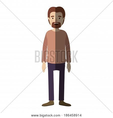 light color shading caricature full body male person with beard and moustache with clothing vector illustration