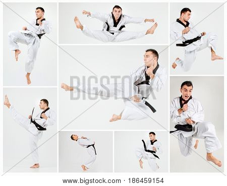 The karate man in white kimono and black belt training karate over gray background. collage