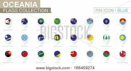 Oceania Flags Collection. Big Set Of Blue Pin Icon With Flags.