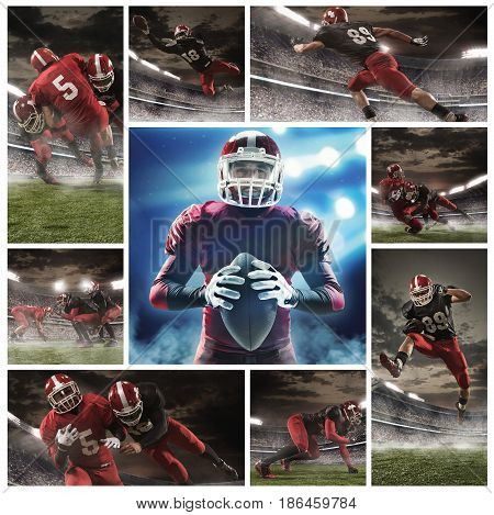 The collage about american football players in action