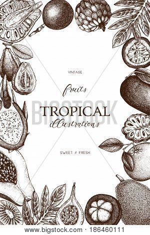 Summer greeting card or invitation design. Vector frame with hand drawn tropical fruits sketch. Vintage background exotic plants and flowers