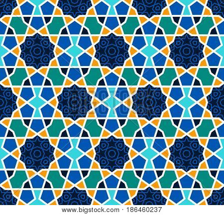 Arabesque seamless pattern with stars. Traditional girih tiles on blue background. Vector Illustration. Islamic wallpaper design.