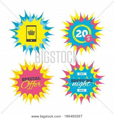Shopping offers, special offer banners. Smartphone with shopping cart sign icon. Online buying symbol. Discount star label. Vector