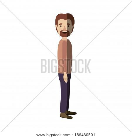light color shading caricature full body male person with beard and moustache looking to side vector illustration