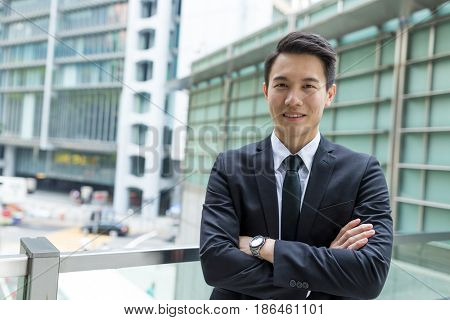 Asian businessman in central of Hong Kong