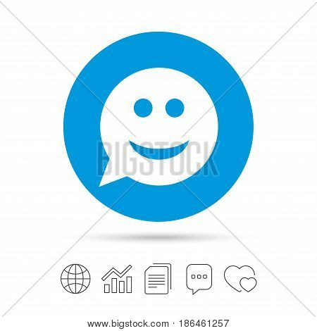 Smile face sign icon. Happy smiley chat symbol. Speech bubble. Copy files, chat speech bubble and chart web icons. Vector