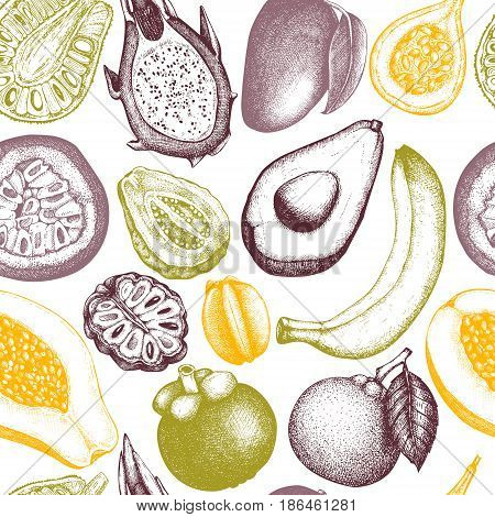 Vector seamless pattern with hand drawn tropical fruits sketch. Vintage background exotic plants and flowers