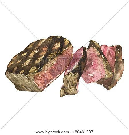 Beef. Watercolor ribeye steak. Hand drawn illustration. Isolated on white background