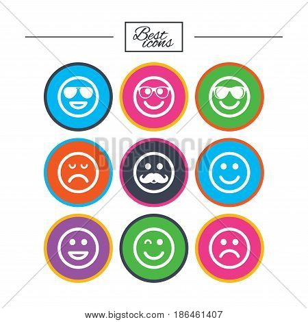Smile icons. Happy, sad and wink faces signs. Sunglasses, mustache and laughing lol smiley symbols. Classic simple flat icons. Vector