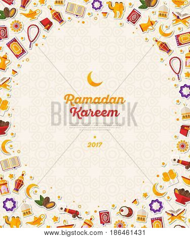 Ramadan Kareem concept vertical banner with flat sticker icons. Vector illustration. Eid Mubarak. Quran, Traditional Lanterns, Dates, Iftar food. Oval frame with traditional decorations