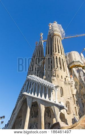La Sagrada Familia - The Impressive Cathedral Designed By Gaudi. Barcelona, Spain