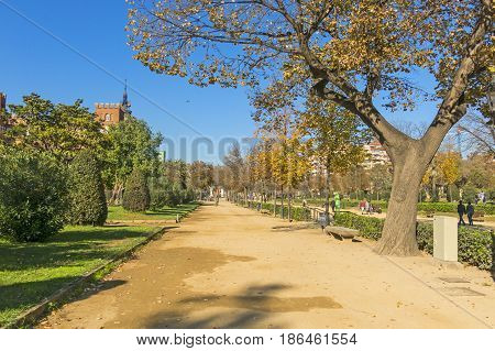 BARCELONA- NOV 15: Overview of Citadel park & and Botanical palace on November 15 2016 in Barcelona Spain. The Parc de la Ciutadella is a park on the northeastern edge of Ciutat Vella Barcelona.