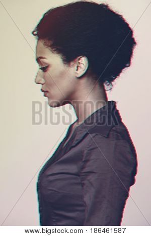 Profile portrait of beautiful mixed race African ethnicity - Caucasian woman looking forward, 3d anaglyph effect