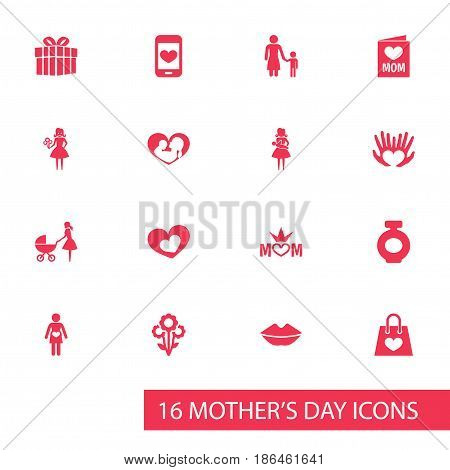 Mothers Day Icon Design Concept. Set Of 16 Such Elements As Flowers, Mother And Infant. Beautiful Symbols For Present, Love And Stroller.