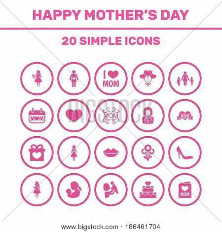 Mothers Day Icon Design Concept. Set Of 20 Such Elements As Decoration, Mam And Holiday. Beautiful Symbols For Love, Woman And Heeled.