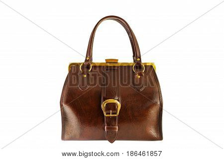 Vintage brown chest with golden buckle, old fashion bag