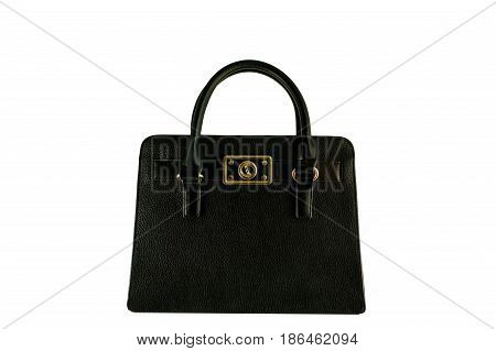 Vintage black briefcase with gold buckle, old fashion bag
