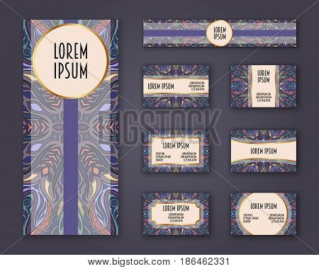 Business cards invitations and banner template set. Ethnic mandala pattern and ornaments in boho style. Oriental design Layout. Asian Arabic Indian ottoman motifs.