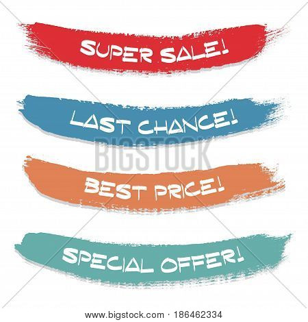 Set of colored ink stroke. Sale special offer last chance best price