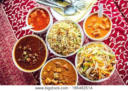 Indian National Food. Top View.