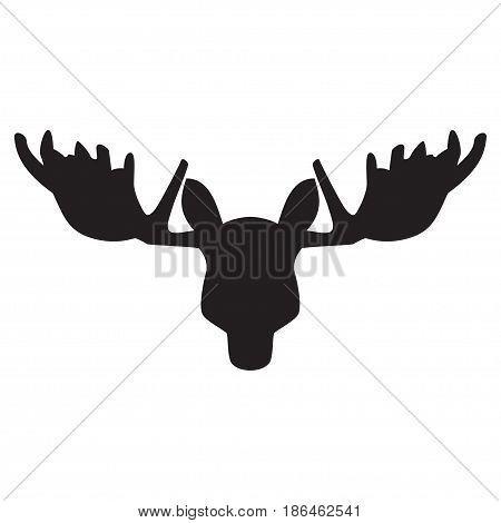 Black silhouette of an elk head. Vector illustration