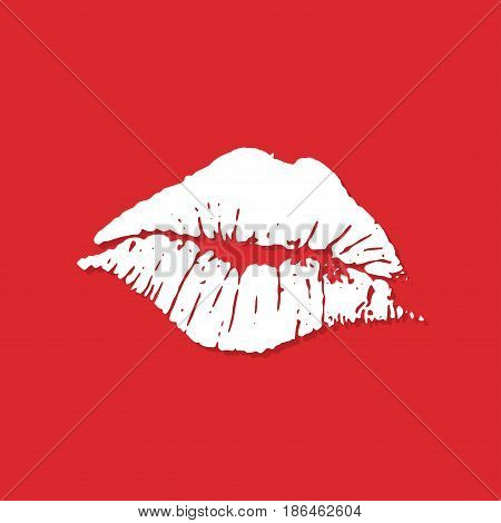 Lips imprint icon with shadow in a flat design. Vector illustration