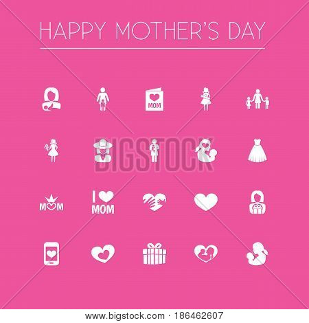 Mothers Day Icon Design Concept. Set Of 20 Such Elements As Gift To Mother, Soul And Mother. Beautiful Symbols For Evening, Card And Gift.