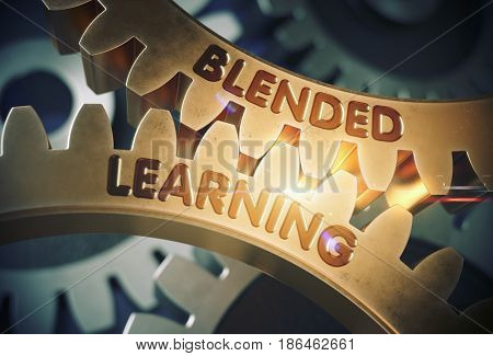 Blended Learning on Golden Metallic Cog Gears. Golden Metallic Cog Gears with Blended Learning Concept. 3D Rendering.
