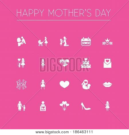 Mothers Day Icon Design Concept. Set Of 20 Such Elements As Kid, Daughter And Queen. Beautiful Symbols For Mam, Cake And Child.