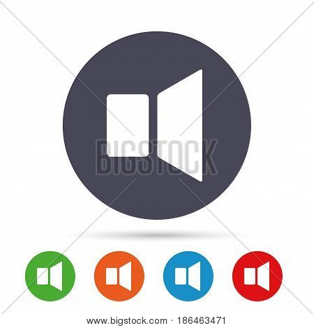 Speaker volume sign icon. Sound symbol. Round colourful buttons with flat icons. Vector