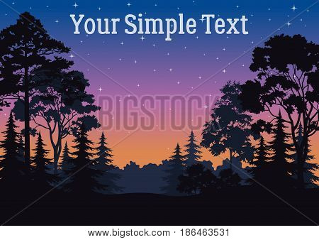 Night Landscape, Forest, Coniferous and Deciduous Trees Silhouettes, Sky with Stars. Vector