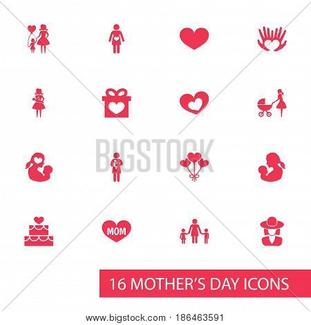 Mothers Day Icon Design Concept. Set Of 16 Such Elements As Missus, Soul And Text. Beautiful Symbols For Headgear, Palm And Mom.