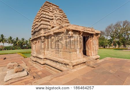 Hindu temple of Pattadakal Karnataka. UNESCO World Heritage site with stone carved structures of 7th and 8th-century, India.