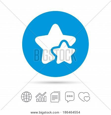 Star icon. Favorite sign. Best rated symbol. Copy files, chat speech bubble and chart web icons. Vector