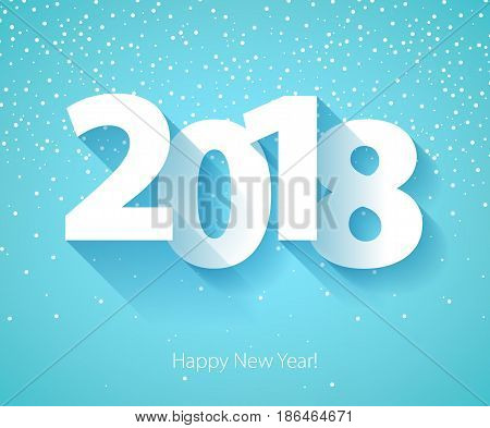 Happy New Year 2018 background. Calendar design typography vector illustration. Paper white digits design with shadows and snowflakes on colorful background.