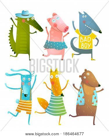 Cartoon for children dancing or playing game animals cub in dress, shirts, clothes. Dog, pig, alligator, rabbit, fox, bear friends. Vector cartoon illustration.