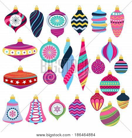 Colorful retro baubles set. Decorative vintage christmas tree balls. Holiday symbols. Vector illustration.