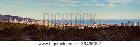 Panorama of Benidorm city. Benidorm is a modern resort city one of the most popular travel destinations in Spain. Costa Blanca Alicante province